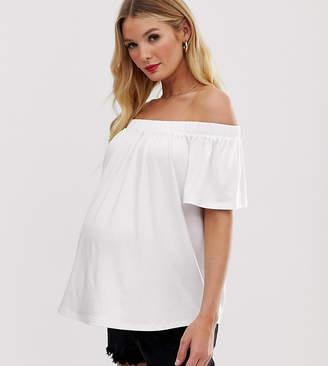 Asos DESIGN Materntiy off shoulder swing top in white