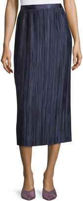 Tibi Plisse Pleated Midi Skirt