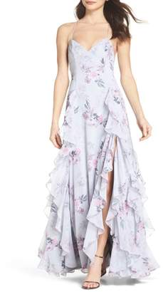 Fame & Partners Nav Ruffle Gown