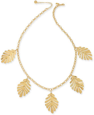 "Kate Spade Gold-Tone Leaf Statement Necklace, 28""+ 3"" extender"
