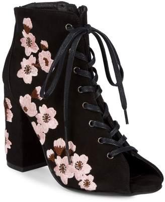 RENVY Floral Suede Booties