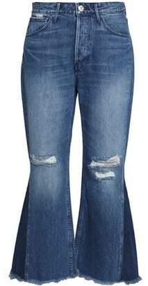3x1 Distressed Mid-Rise Kick-Flare Jeans