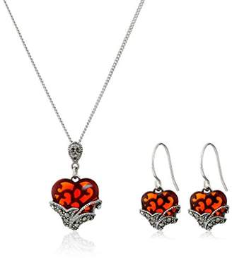 Glass Heart Sterling Silver Marcasite Earrings and Curb Chain Pendant Necklace Jewelry Set
