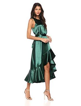Taylor Dresses Women's Sleeveless Ruffle Hem sash tie Dress