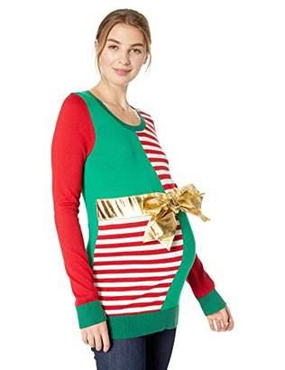 Motherhood Maternity Women's Maternity Long Sleeve Crew Neck Rib Cuff Sweater