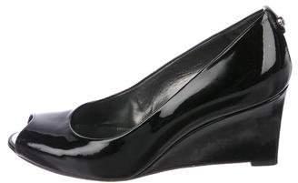 Stuart Weitzman Patent Leather Peep-Toe Wedges