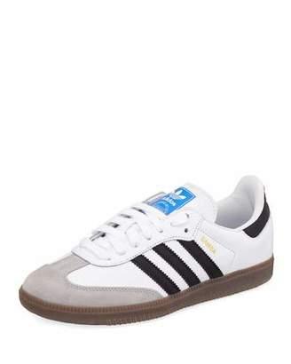 adidas Samba Original Leather/Suede Sneakers, White/Black/Granite
