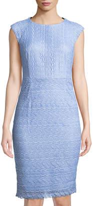 Tahari ASL Lace Crewneck Sheath Dress
