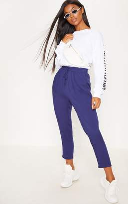 PrettyLittleThing Diya Navy Casual Trouser