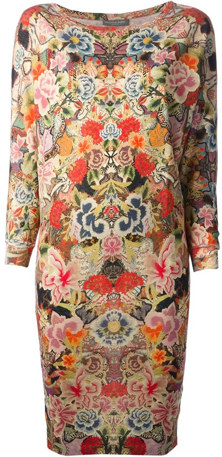 Alexander McQueen floral collage sweater dress