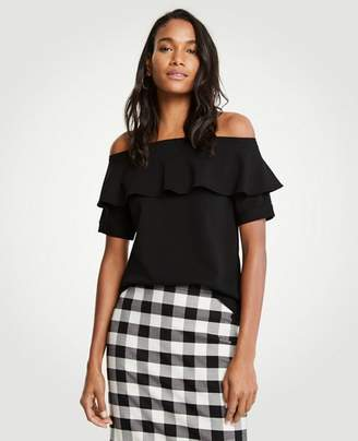 Ann Taylor Petite Off The Shoulder Ruffle Top