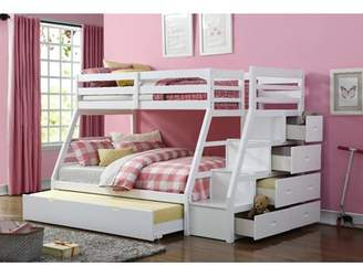 Viv + Rae Reece Twin Over Full Slat Bunk Bed with Storage Ladder and Trundle