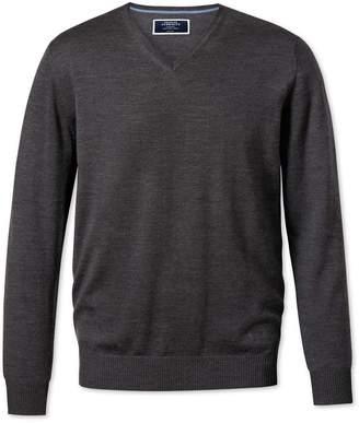 Charles Tyrwhitt Charcoal Merino Wool V-Neck Sweater Size Large