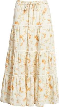 LoveShackFancy Lyla Floral Cotton & Linen Midi Skirt