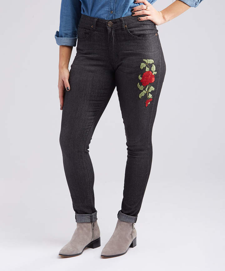 Black Rose-Embroidered Skinny Jeans - Women & Plus