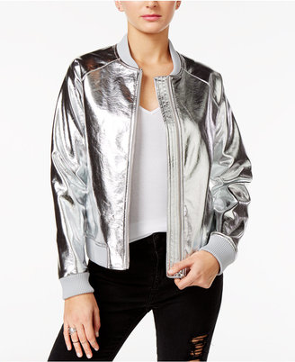 GUESS Brock Metallic Bomber Jacket $98 thestylecure.com
