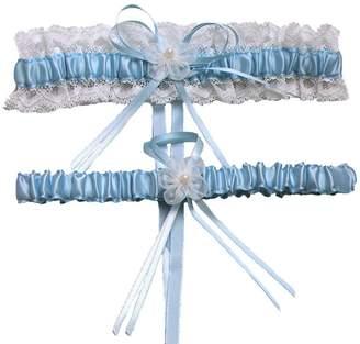 XY Fancy 5 Colors Lace Ruffle Satin Wedding Garter Set of 2 Bridal Garter Belt Toss/Keepsake