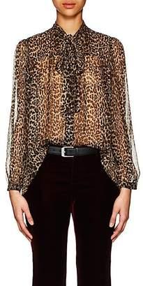 5498b14f87e2fc Saint Laurent Women s Leopard-Print Silk Oversized Blouse - Black