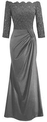 IBTOM CASTLE Women's Retro Vintage Off Shouler Floral Lace Ruched Bridesmaid Formal 2/3 Sleeve Slim Wedding Maxi Long Dress Cocktail Gowns 2XL