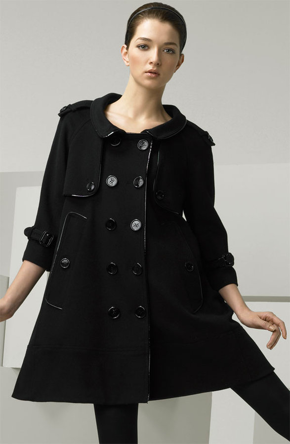 Burberry Double Breasted Swing Coat with Patent Piping