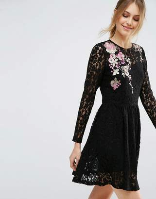 Asos DESIGN All Over Lace Mini Dress with Floral Embroidery
