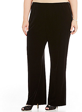 Alex Evenings Alex Evenings Plus Velvet Flat Front Straight Leg Pant