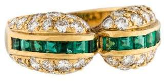 Ring 18K Emerald & Diamond Band