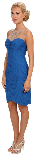 Adrianna Papell Shirred Stretch Tulle Cocktail Dress