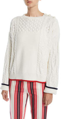 Loro Piana Boat-Neck Long-Sleeve Cable-Knit Cashmere Sweater