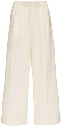 Marysia Swim Montauk embroidered cotton trousers
