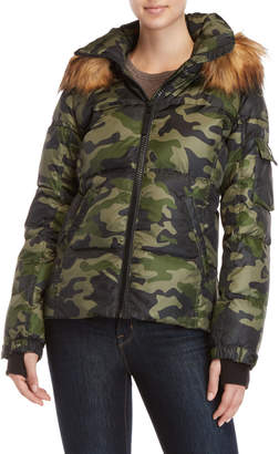 S13 Faux Fur Camo Down Puffer Jacket