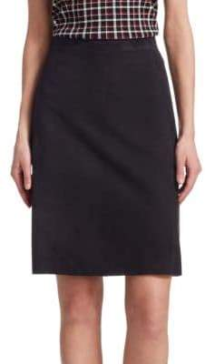 Akris Punto Suede Leather Eyelet Pencil Skirt