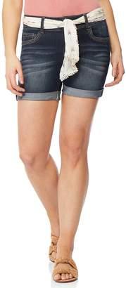 Juniors' Wallflower Luscious Curvy Tie Belt Midi Shorts