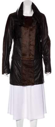 Nicholas K Ponyhair-Trimmed Convertible Leather Coat