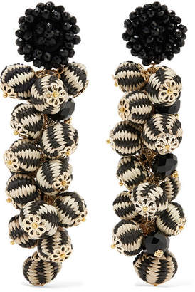 Bibi Marini - Cluster Bead, Silk And Gold-tone Earrings - Black