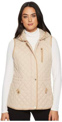 Lauren Ralph Lauren Hooded Vest w/ Faux Leather Tabs Women's Vest