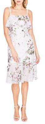 Rachel Roy Tiered Printed Lace Midi Dress