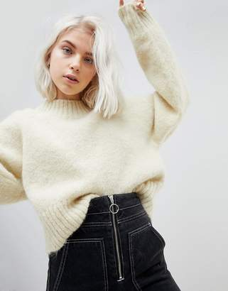 Weekday Crop Mohair Knit Sweater