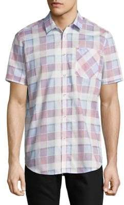 Point Zero Printed Cotton Slub Dress Shirt