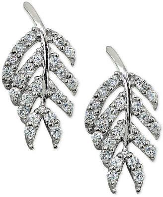 Giani Bernini Cubic Zirconia Leaf Stud Earrings in Sterling Silver