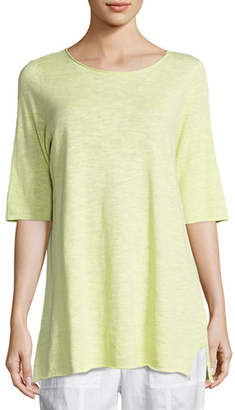 Eileen Fisher Half-Sleeve Linen-Blend Tunic