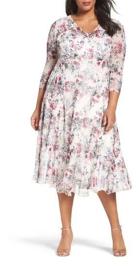 Komarov Print Chiffon Midi Dress