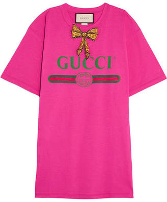 Gucci Embellished Printed Cotton-jersey T-shirt