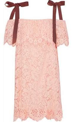 Ganni Cold-Shoulder Corded Lace Mini Dress