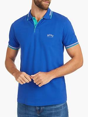 bf9f8ece2c17 at John Lewis and Partners · HUGO BOSS BOSS Paul Curved Logo Tipped Slim Fit  Polo Shirt, Blue