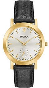 Bulova Ladies' Black Leather Strap Watch $199 thestylecure.com