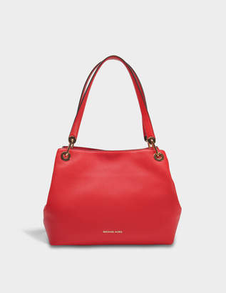 MICHAEL Michael Kors Raven Large Shoulder Tote Bag in Bright Red Grained Calfskin