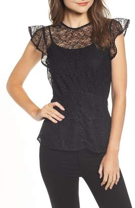 Chelsea28 Button Detail Lace Top