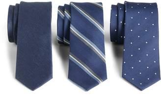 The Tie Bar 3-Pack Navy Tie Set