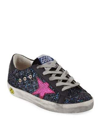 Golden Goose Superstar Glittered Low-Top Sneakers, Baby/Toddler
